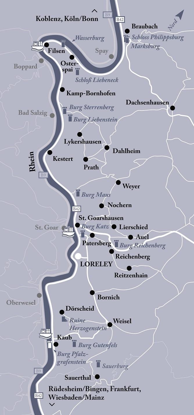 Mittelrheintal Karte.Region Karte